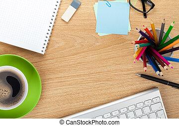 オフィス, テーブル, ∥で∥, コーヒーカップ, そして, 供給