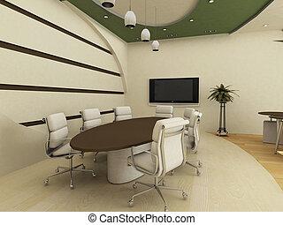 オフィス。, テーブル, 椅子, 会議, interior.