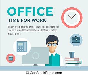 オフィス, デザイナー, infographic., 仕事, イラスト, ベクトル, computer., 株, 事務員...