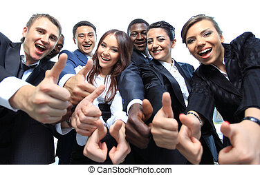 オフィス, ビジネス, の上, 多民族, 親指, チーム, 幸せ