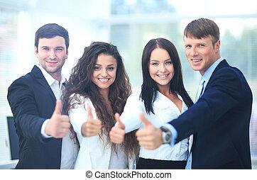 オフィス, ビジネス, の上, 親指, チーム, 幸せ