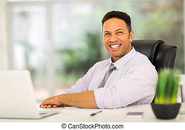 オフィス, ビジネス, モデル, 年齢, 中央の, 人