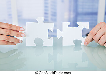 オフィス, ビジネス 人々, ジグソーパズル小片, 参加する