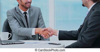 オフィス, ビジネス 人々, 手, 2, 他, それぞれ, 動揺