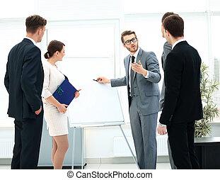 オフィス, ビジネス 人々, 話し, ミーティング, 幸せ