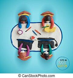 オフィス, ビジネス, 労働者, modeling., meeting., plasticine