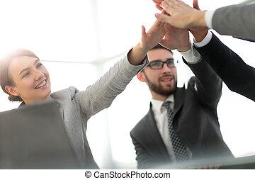 オフィス, ビジネス, 寄付, 高い 5, チーム, 幸せ
