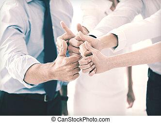 オフィス, ビジネス, 提示, の上, 親指, チーム