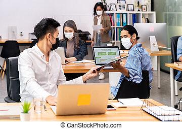 オフィス, ビジネス, 新しい, ウエア, 正常, 距離, 顔, 生活, チーム, 社会, マスク