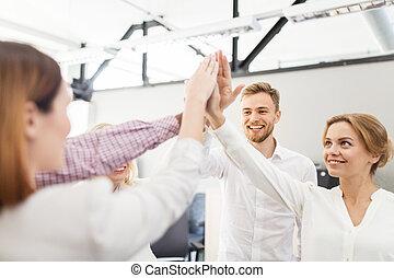 オフィス, ビジネス, 高い 5, チーム, 作成, 幸せ