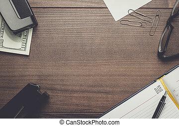 オフィス, ブラウン, 木製のテーブル, ∥で∥, いくつか, オブジェクト