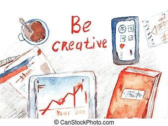 オフィス, プロセス, 絵, -, 創造的, 水彩画, テーブル, 旗