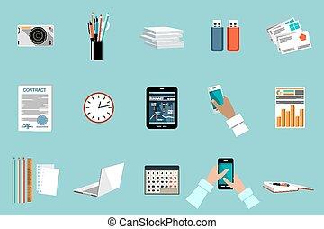 オフィス, ベクトル, objects., セット, 装置, もの, 平ら