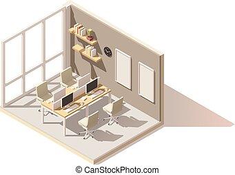 オフィス, ベクトル, poly, 部屋, 低い, 等大