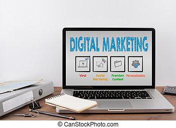 オフィス, マーケティング, concept., デジタル, 机, ラップトップ