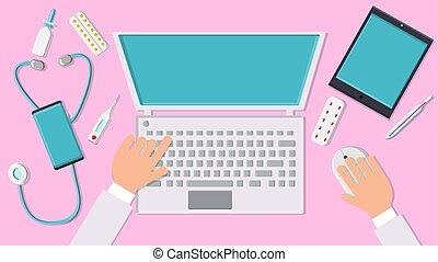 オフィス, ラップトップ, 現代, それ, 彼の, 光景, 仕事, 医者, lay., 上, ベクトル, デジタル, 薬, 新しい, concept:, 仕事場, 平ら, smartphone, 手, 技術, 人, タブレット, コンピュータ, 痛みなさい