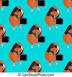 オフィス, 事務員, 家禽, パターン, 労働者, 仕事, バックグラウンド。, マネージャー, businessman., 焼かれた, 行きなさい, suitcase., 揚げられていた 鶏