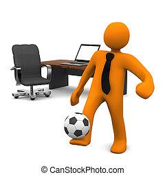 オフィス, 人体摸型, ノート, フットボール
