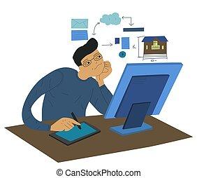 オフィス, 人, 平ら, illustration., workplace., 建物, プロジェクト, 若い, 作成する, 仕事, ベクトル, コンピュータ