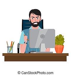 オフィス, 人, 怒る, 見る, モニター, 椅子, モデル, 机, コンピュータ