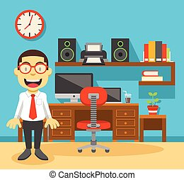 オフィス, 仕事場, 労働者, 彼の