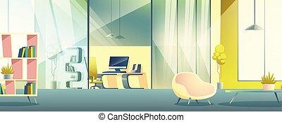 オフィス, 仕事, キャビネット, ベクトル, 内部, 漫画