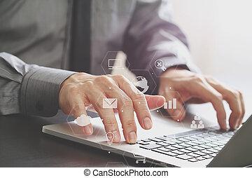オフィス, 仕事, 木製である, ラップトップ, 現代, の上, 事実上, 図, コンピュータ, 机, 終わり, ビジネスマン, アイコン