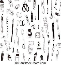 オフィス, 優雅である, モノクローム, 輪郭, 文房具, パターン, 創造性, seamless, バックグラウンド。, 黒, 供給, 白, 手, 引かれる, illustration., ライン, 項目, 図画, 現実的, ベクトル, プロダクト, ∥あるいは∥