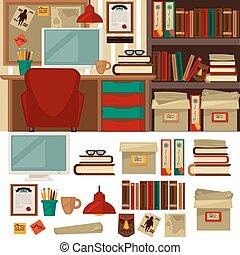 オフィス, 内部, 図書館, オブジェクト, 家, 家具