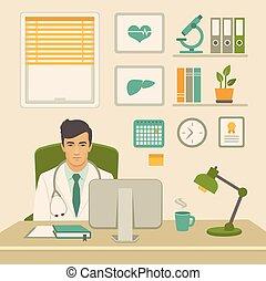 オフィス。, 医療労働者, キャビネット, 医者