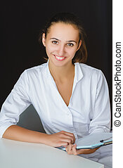オフィス, 医療労働者, 若い, クローズアップ, 女性, 肖像画