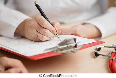 オフィス, 医者の, 患者の, 相談, 机, の間