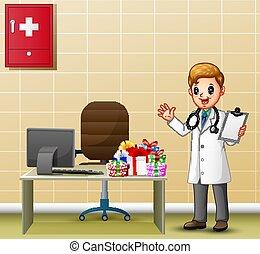 オフィス, 医者, 彼の, 若い