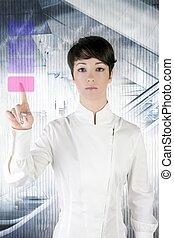オフィス, 女性実業家, パッド, 指, 感触, 未来派