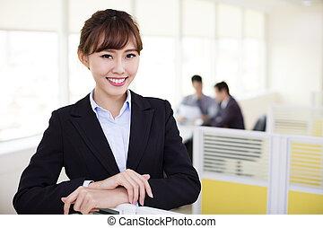 オフィス, 女, 仕事, ビジネス, 若い