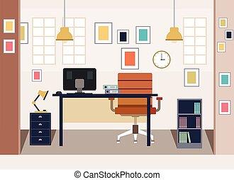 オフィス, 家, デザイン, 現代, 平ら