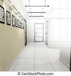オフィス, 廊下, 現代