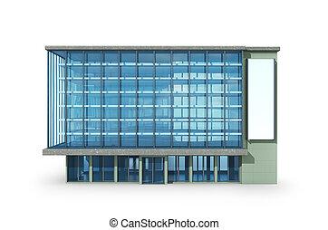 オフィス, 建物。, 広告板, イラスト, 3d