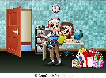 オフィス, 彼の, 祝いなさい, 父, 息子, クリスマス, 幸せ