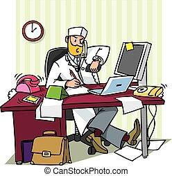 オフィス, 忙しい, 医者, 責任者