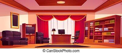 オフィス, 木製である, 贅沢, 内部, 家具, 空
