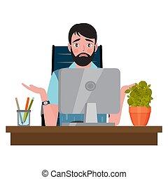 オフィス, 混乱させられた, 人, 見る, モニター, 椅子, モデル, 机, コンピュータ