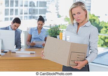 オフィス, 混乱, 去ること, 女性実業家
