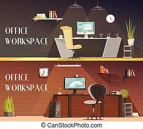オフィス, 漫画, 2, ワークスペース, 水平なバナー