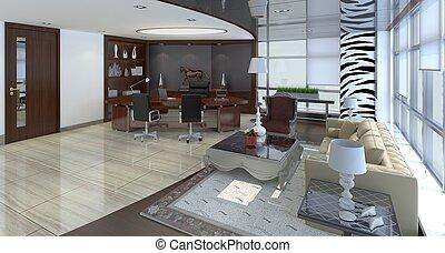 オフィス, 現代, イラスト, デザイン, 内部, 3d