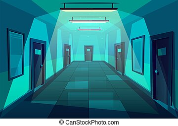 オフィス, 現代, ベクトル, 廊下, 夜, 漫画