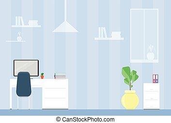 オフィス, 現代, 仕事場, 机, 内部, 椅子, 空
