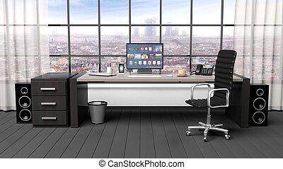 オフィス, 現代, 内部, 窓, 都市の景観, 光景