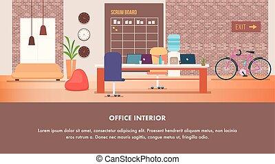 オフィス, 現代, 創造的, coworking, デザイン, 内部
