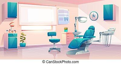 オフィス, 現代, 歯科医, ベクトル, 内部, 漫画